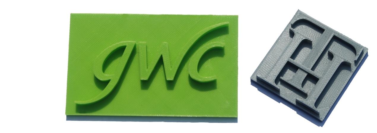 3D printed GWC Company Logo